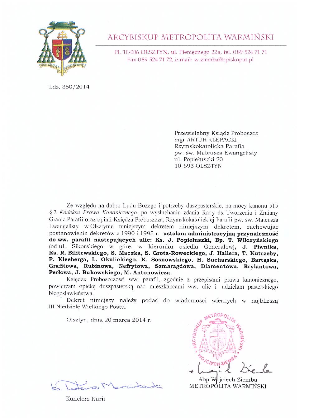 Dekret Arcybiskupa w sprawie granic naszej parafii